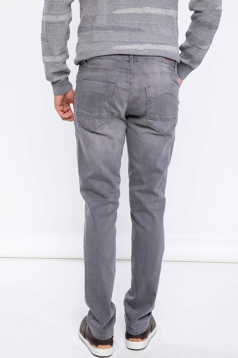 DeFacto Gri Erkek Bruno Slim Fit Denim Pantolon 3