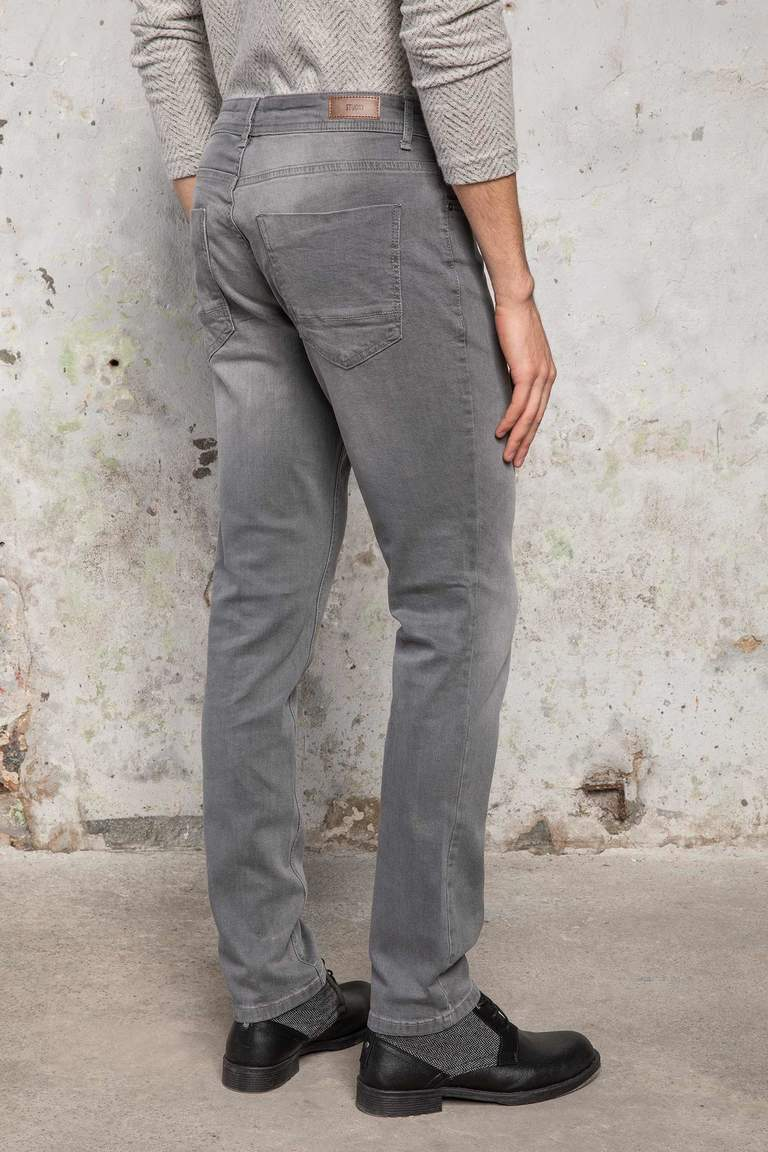DeFacto Gri Erkek Bruno Slim Fit Denim Pantolon 4