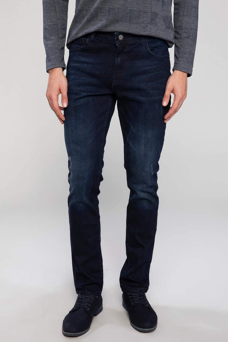 DeFacto Lacivert Erkek Bruno Slim Fit Denim Pantolon 1