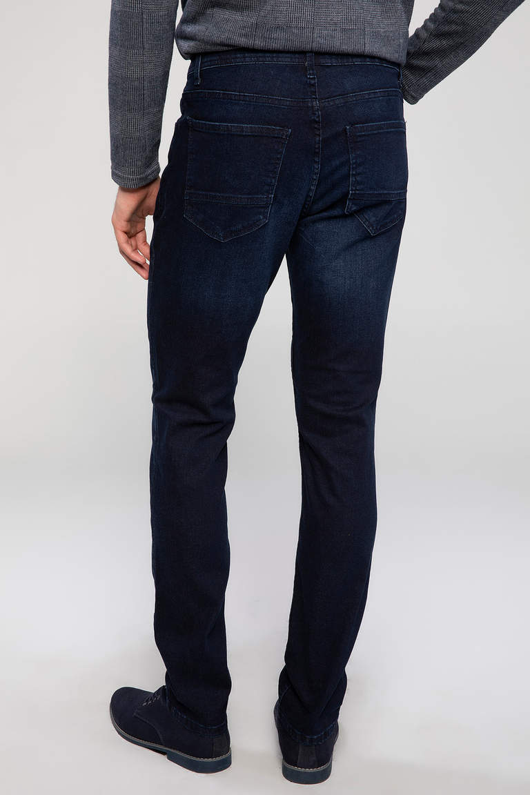 DeFacto Lacivert Erkek Bruno Slim Fit Denim Pantolon 3