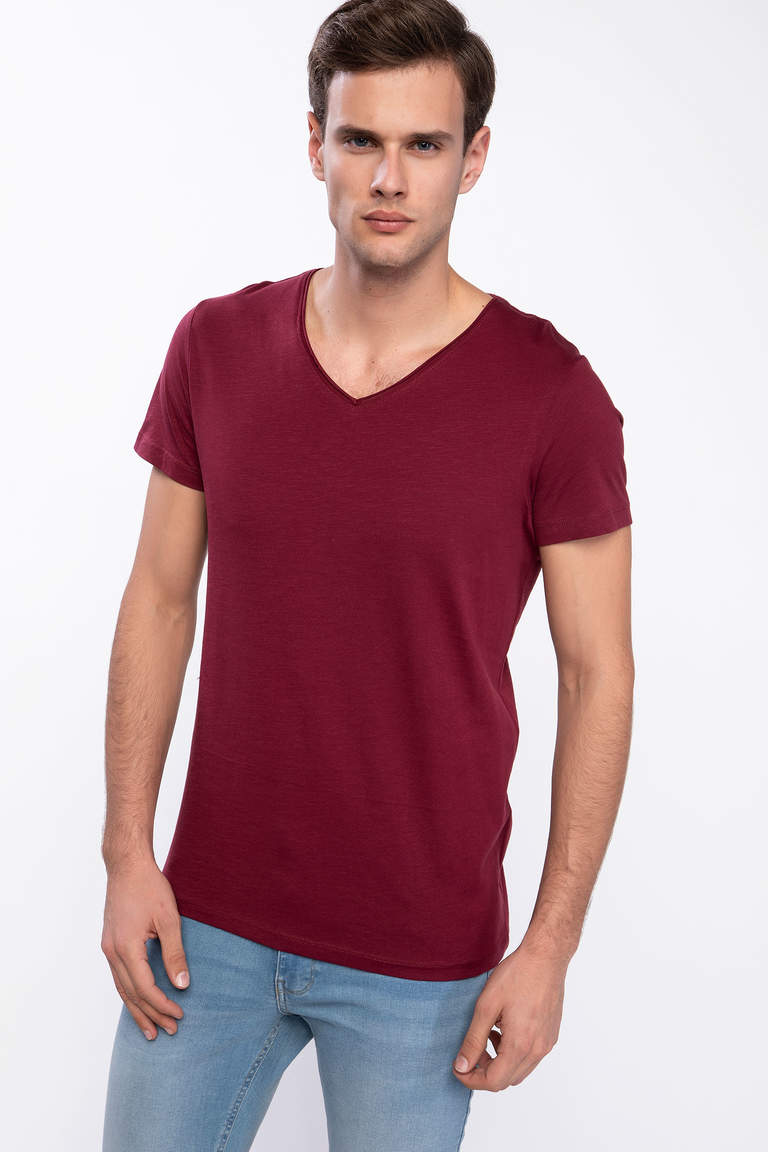 DeFacto Bordo Erkek Slim Fit V Yaka T-shirt 1