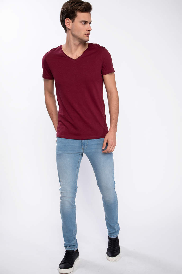 DeFacto Bordo Erkek Slim Fit V Yaka T-shirt 2