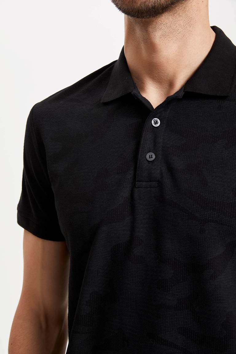 Desenli Slim Fit Polo T-shirt