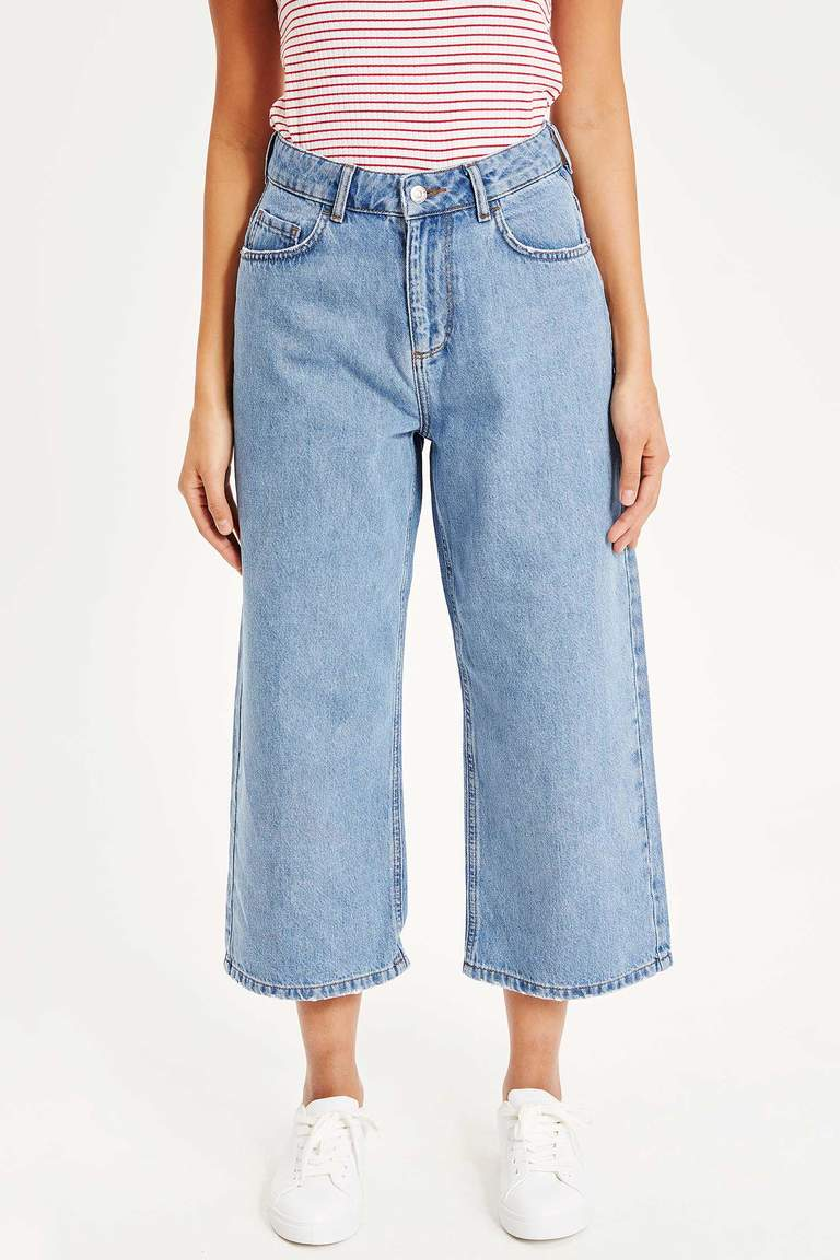 Cropped Straight Fit Jean Pantolon