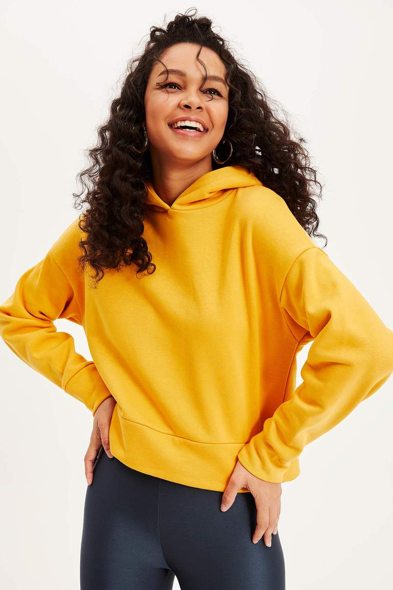 Kapüşonlu Crop Top Sweatshirt
