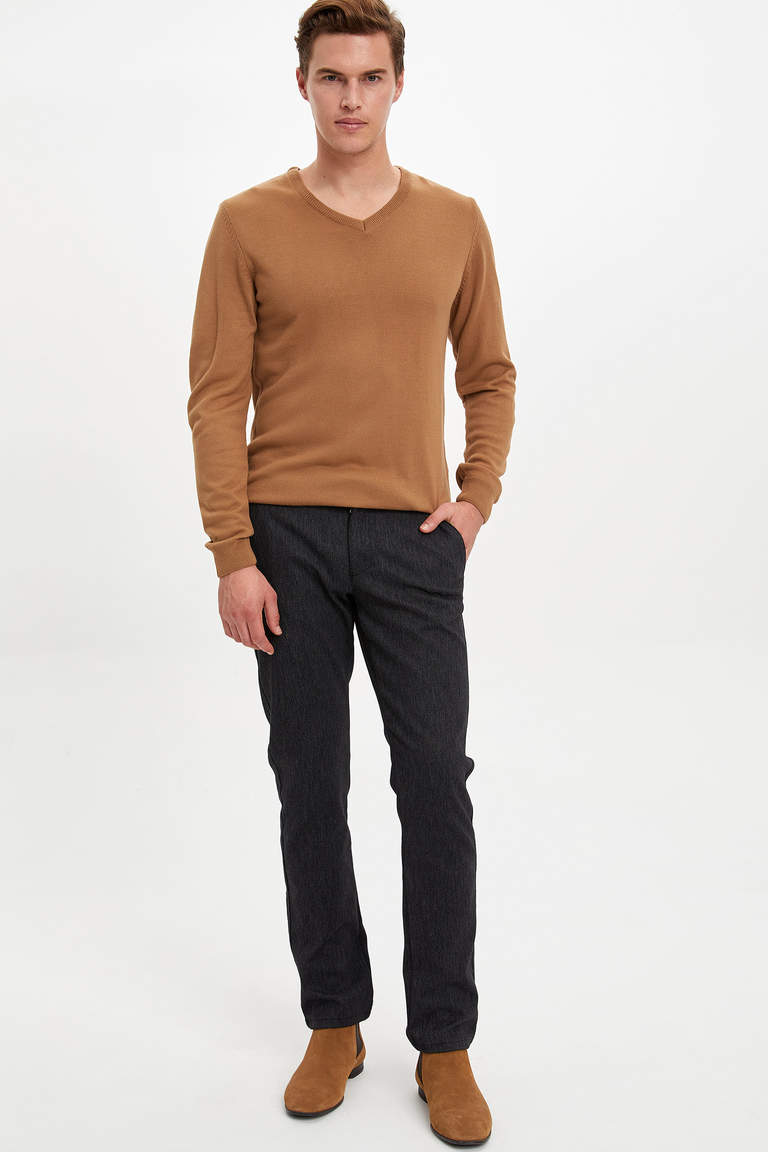 Slim Fit Basic V Yaka Kaşmir Kazak