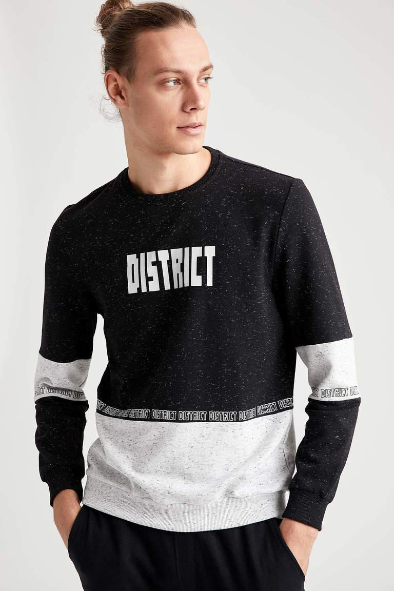 District Baskılı Slim Fit Bisiklet Yaka Sweatshirt