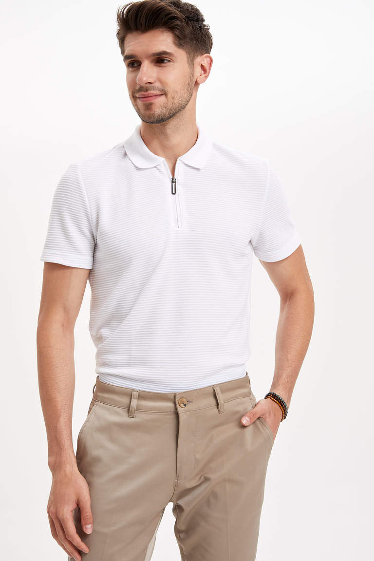 Fermuarlı Slim Fit Polo Tişört
