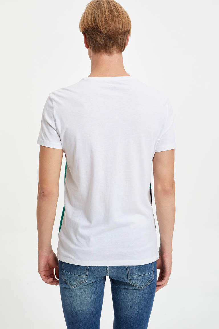 Renk Bloklu Slim Fit T-shirt
