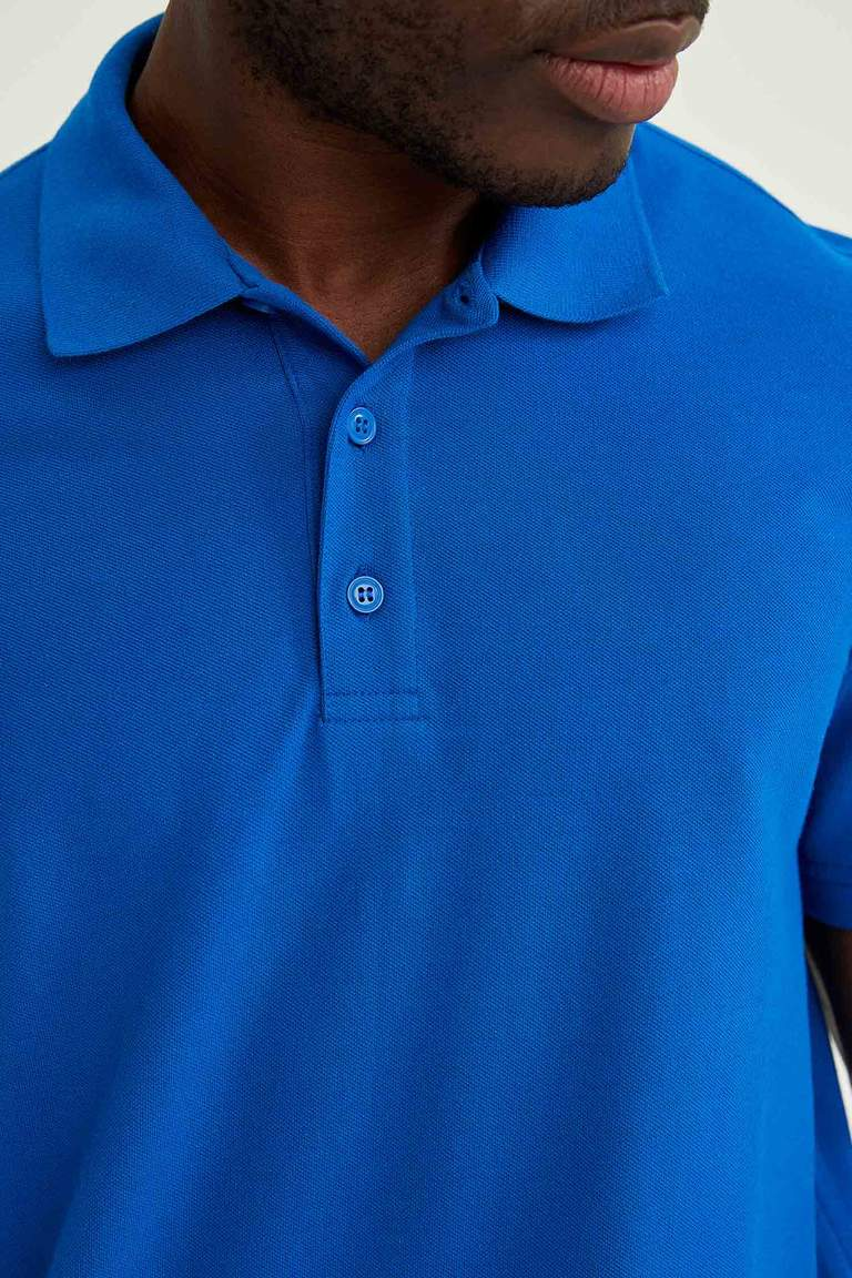 Regular Fit Polo Yaka Basic Kısa Kollu Mavi Tişört