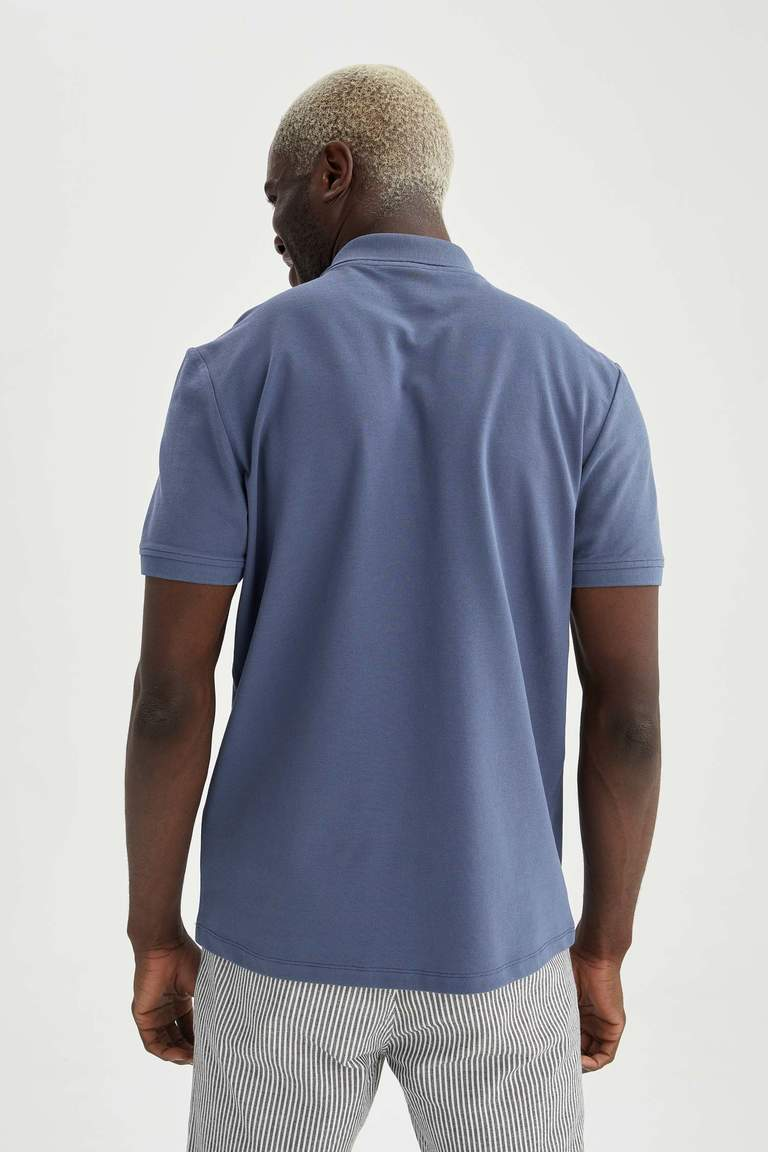 Regular Fit Polo Yaka Basic Kısa Kollu Lacivert Tişört