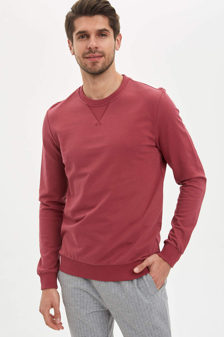 Bisiklet Yaka Basic Regular Fit Sweatshirt