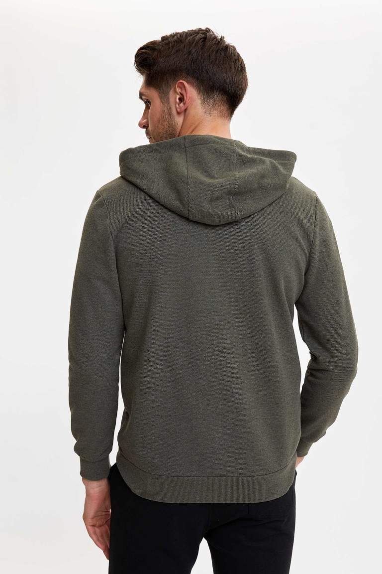 Basic Regular Fit Kapüşonlu Fermuarlı Sweatshirt