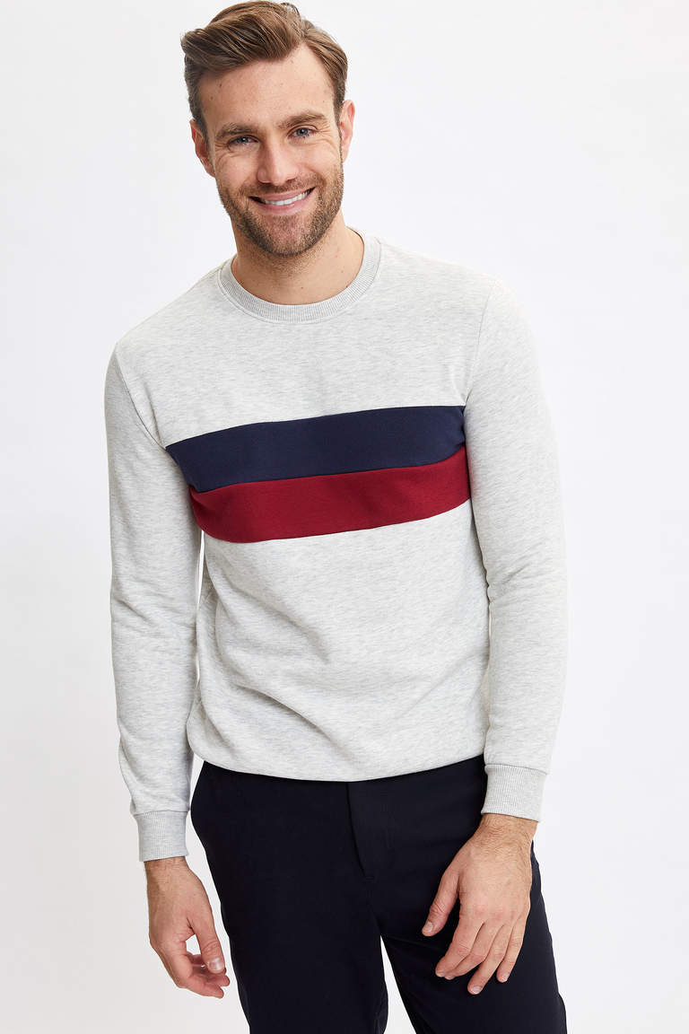 Renk Bloklu Regular Fit Sweatshirt