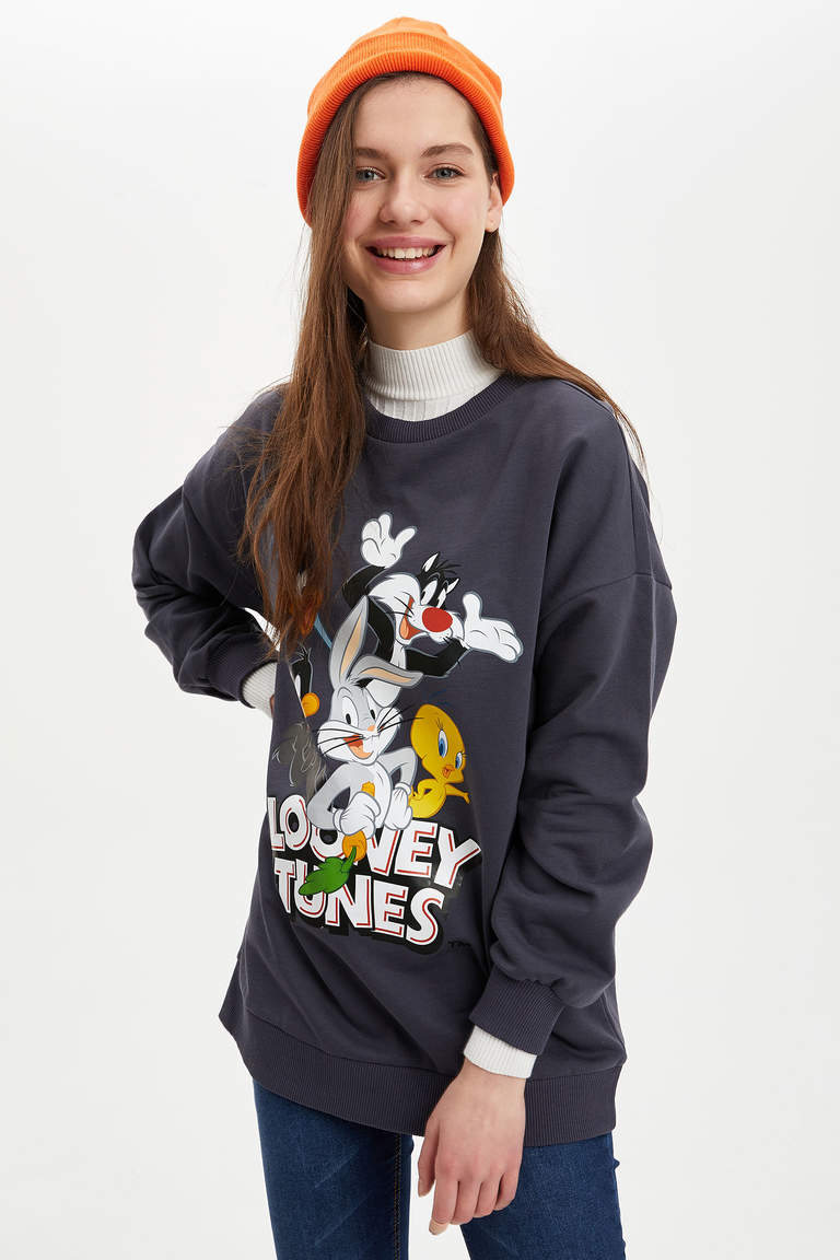 Relax Fit Looney Tunes Lisanslı Sweatshirt