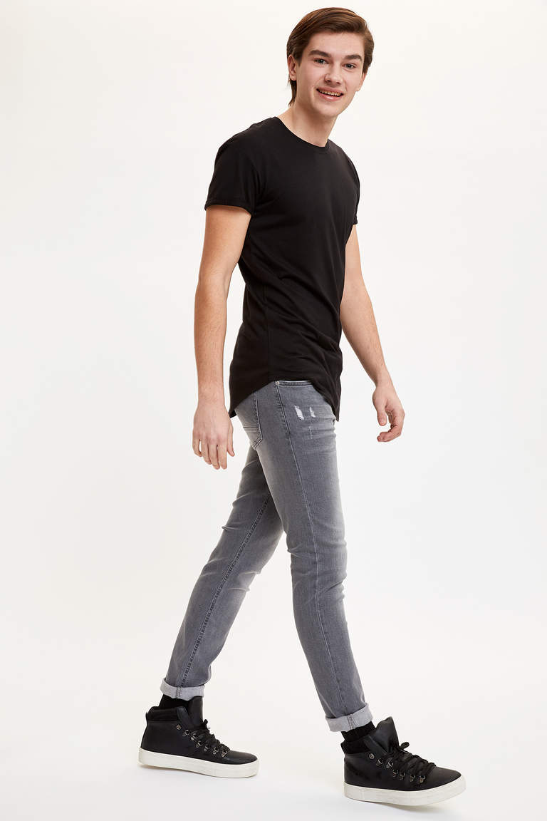 Bisiklet Yaka Basic Long Fit Tişört