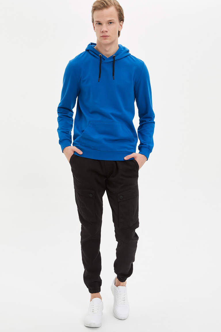 Kapüşonlu Slim Fit Basic Sweatshirt