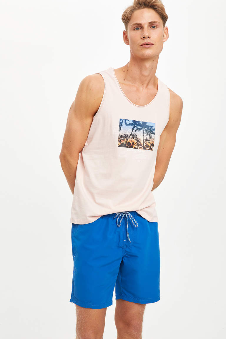 Florida Baskılı Slim Fit Pamuklu Atlet