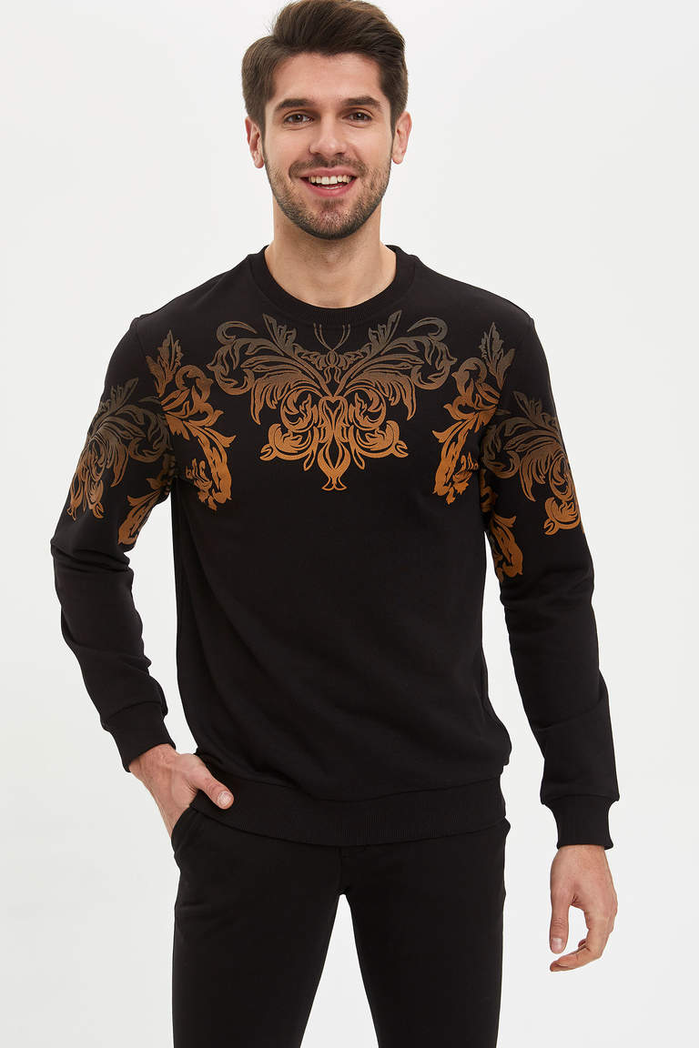 Barok Baskılı Slim Fit Sweatshirt