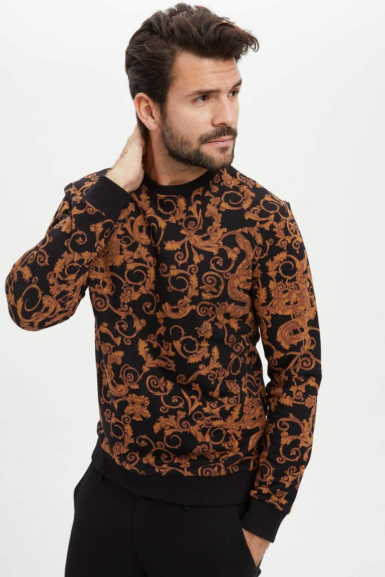 Barok Desenli Slim Fit Sweatshirt