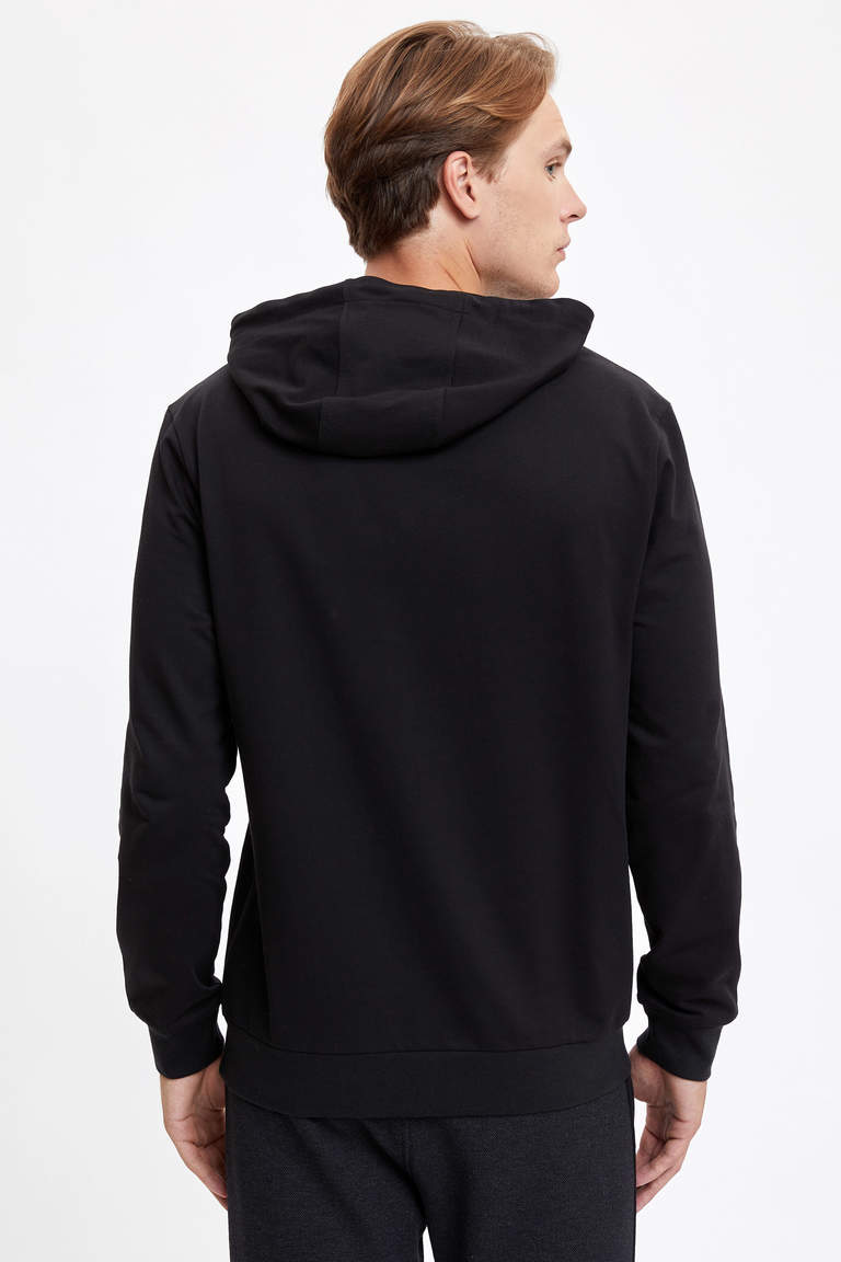 Sentience Baskılı Kapüşonlu Slim Fit Sweatshirt