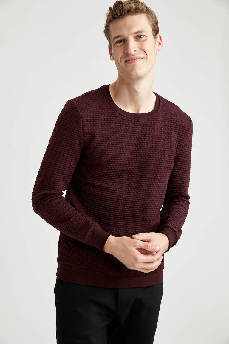 Slim Fit Bisiklet Yaka Basic Sweatshirt