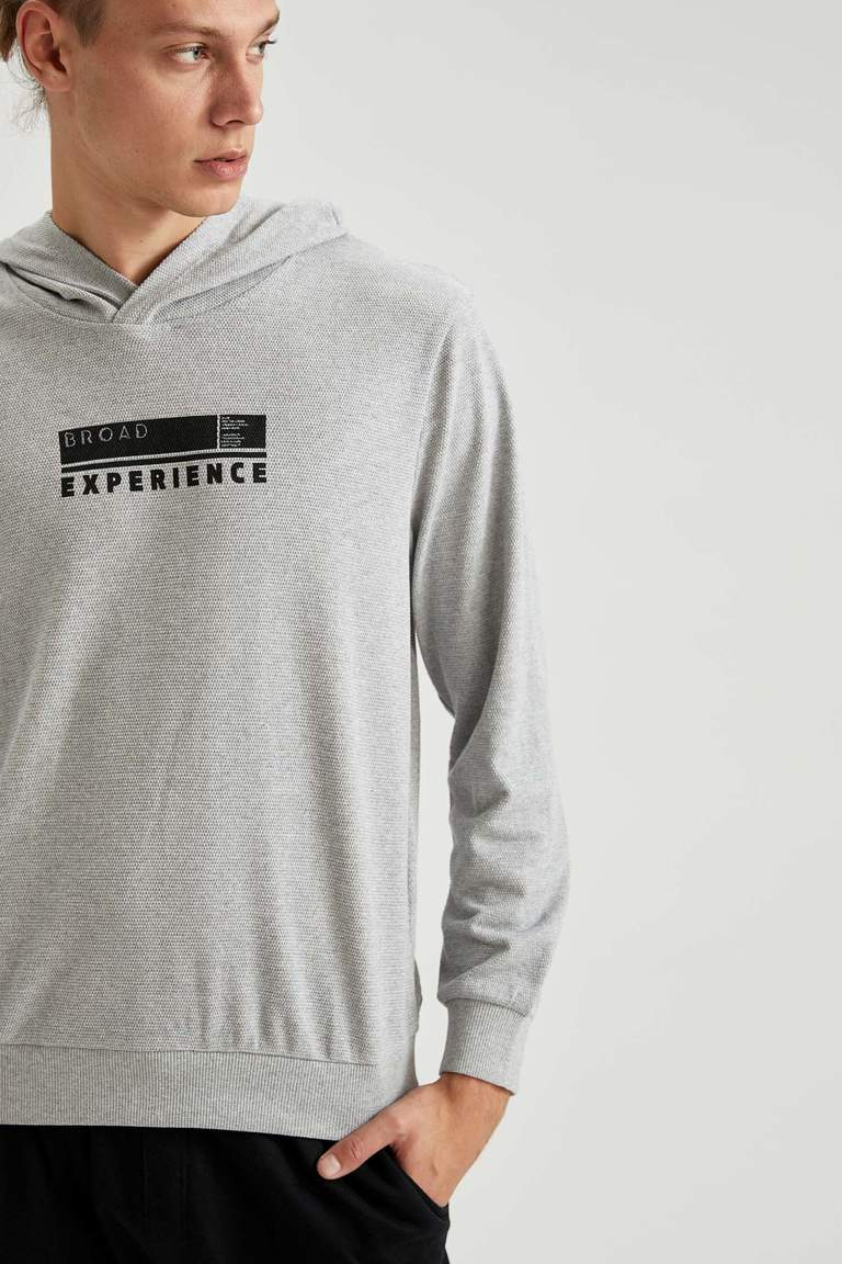 Baskılı Regular Fit Kapüşonlu Sweatshirt