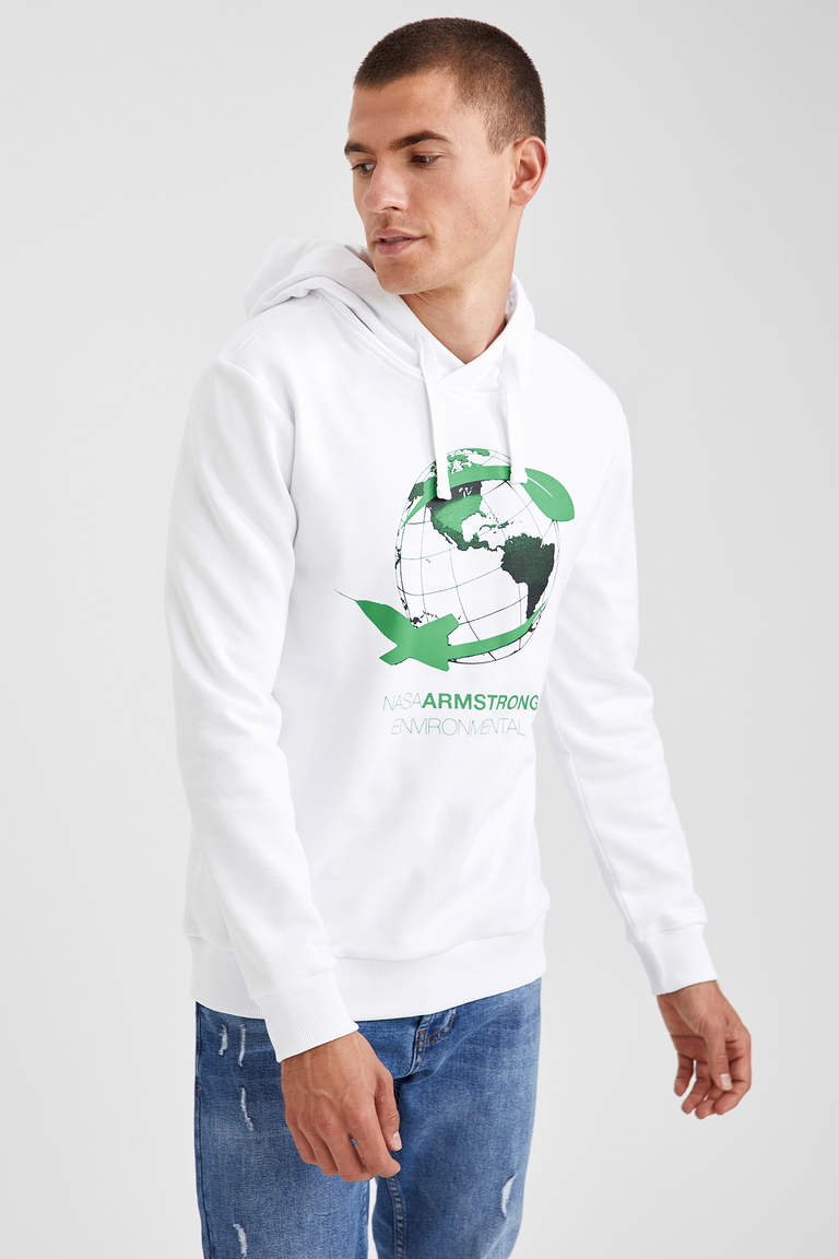 Nasa Lisanslı Slim Fit Kapüşonlu Sweatshirt
