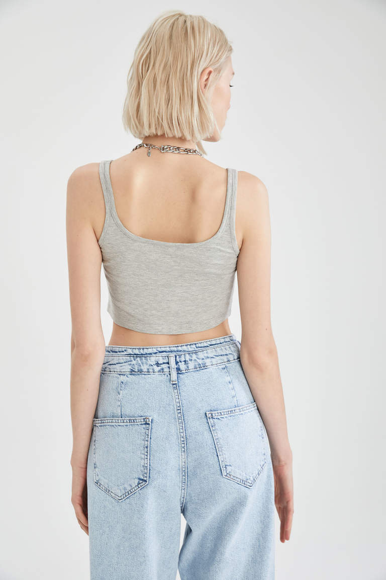 Askılı Pamuklu Crop Top