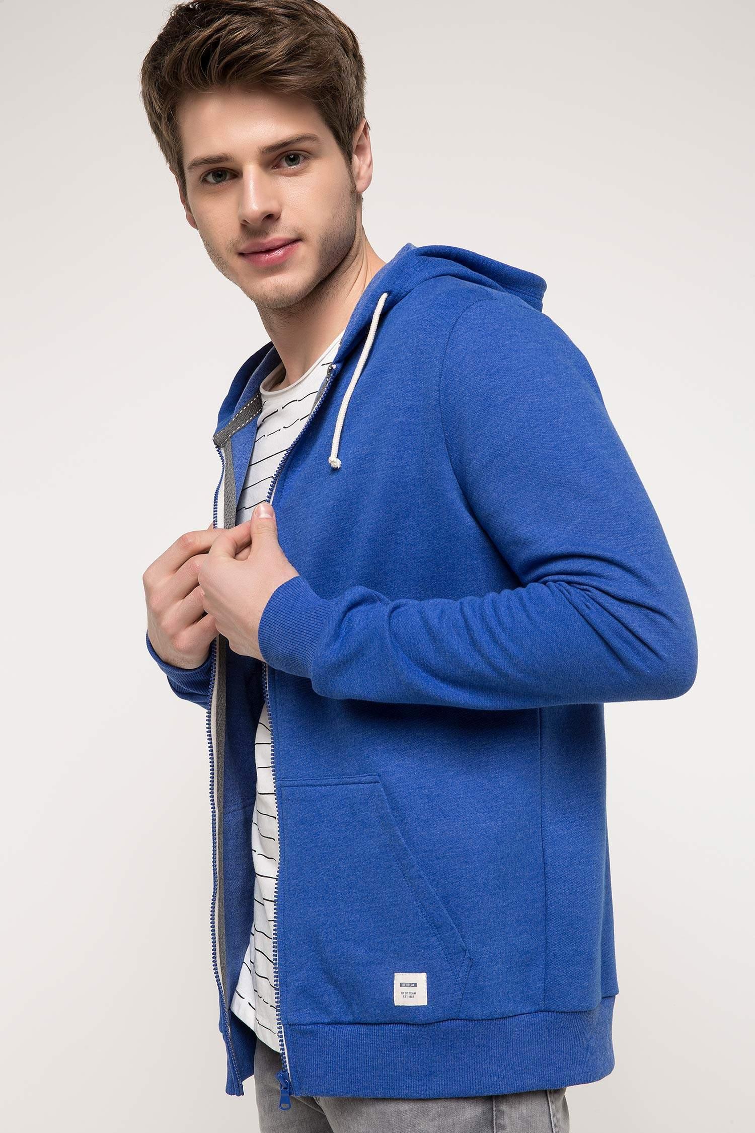 eace02200a025 Royal Mavi Erkek Basic Kapüşonlu Sweatshirt Hırka 802520 | DeFacto