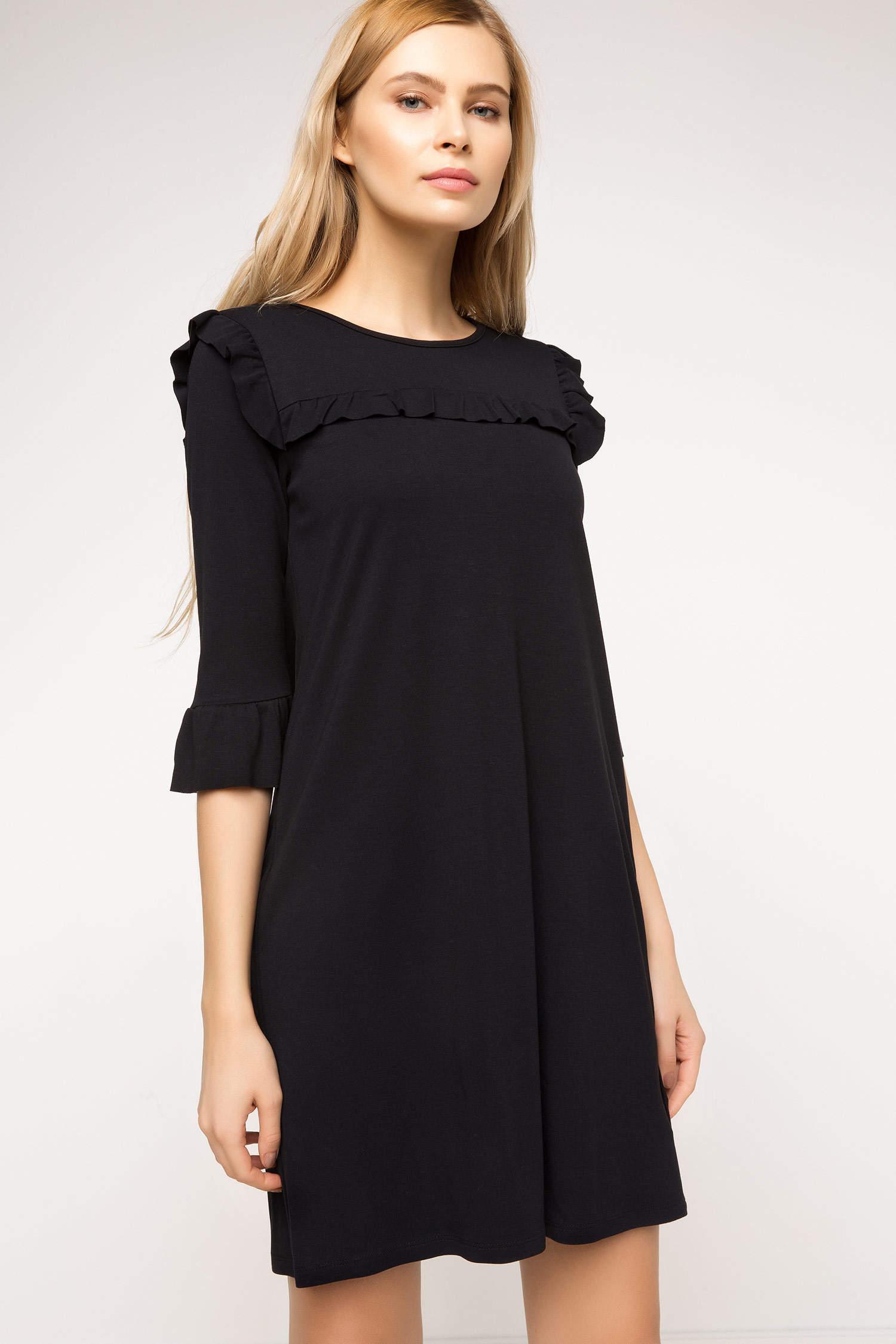 faf05e8678495 Siyah Kadın Fırfır Detaylı Elbise 703182 | DeFacto