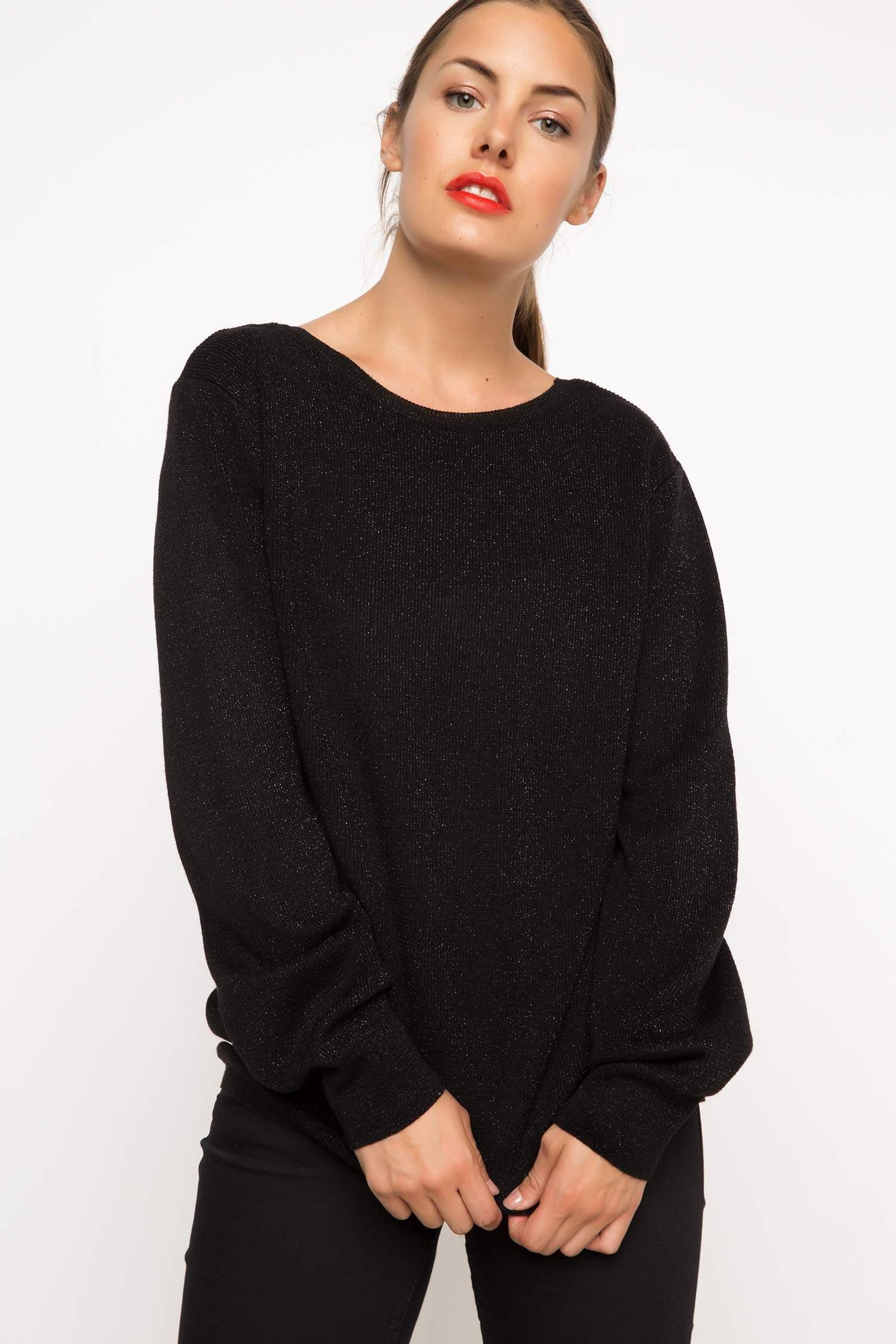 397639ebb2612 Siyah Kadın Çift Taraflı Giyilebilen Triko Kazak 782250 | DeFacto