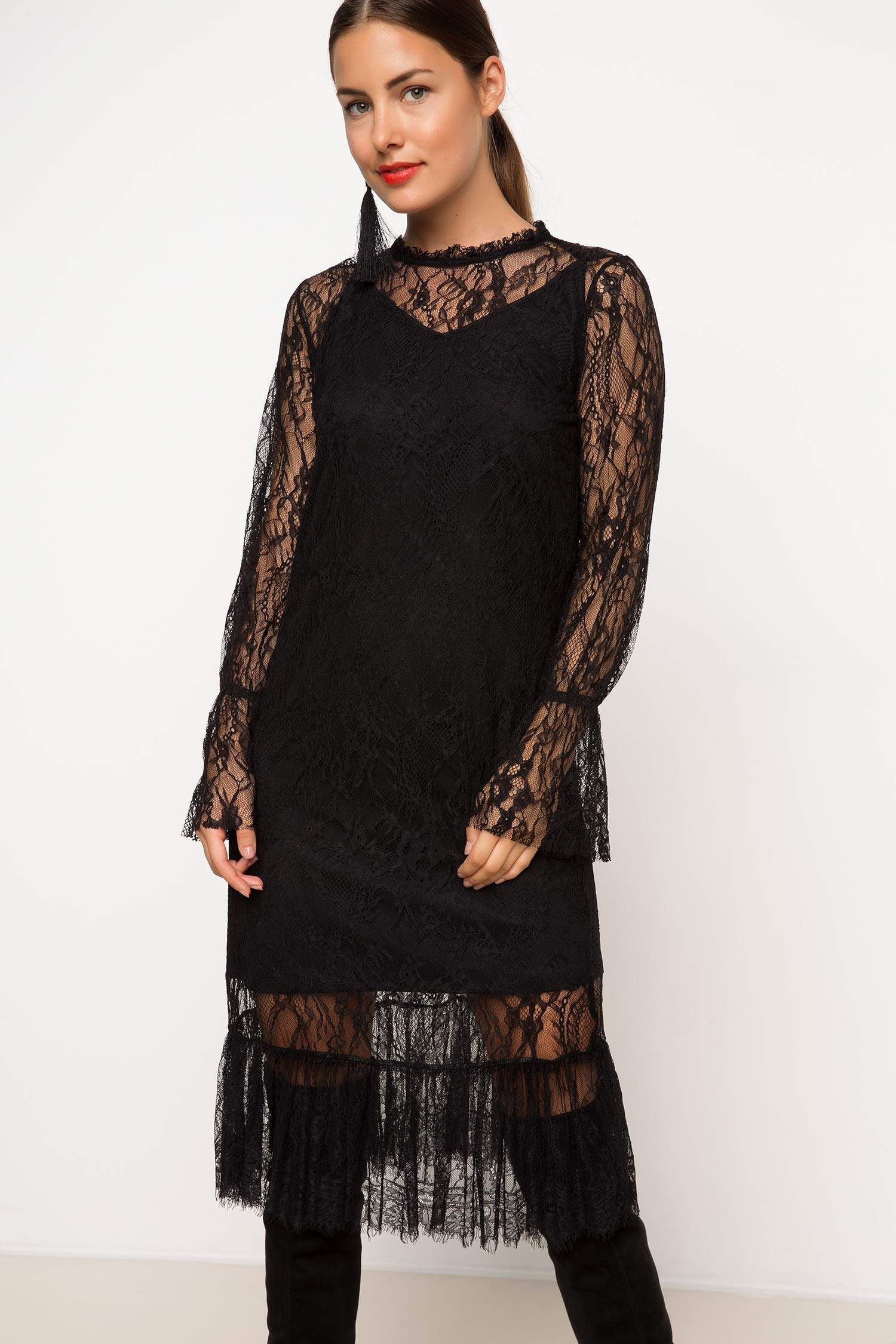 c0fd8a19cec9b Siyah Kadın Dantel Elbise 784171 | DeFacto