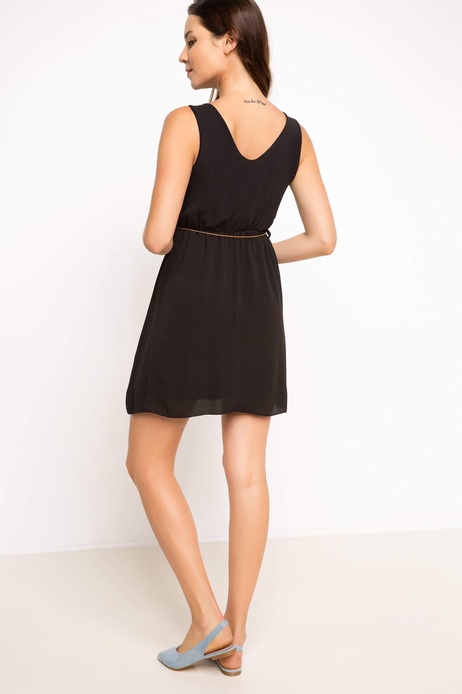 eece77d13d1d3 Siyah Kadın Belden Kemerli Elbise 771990 | DeFacto