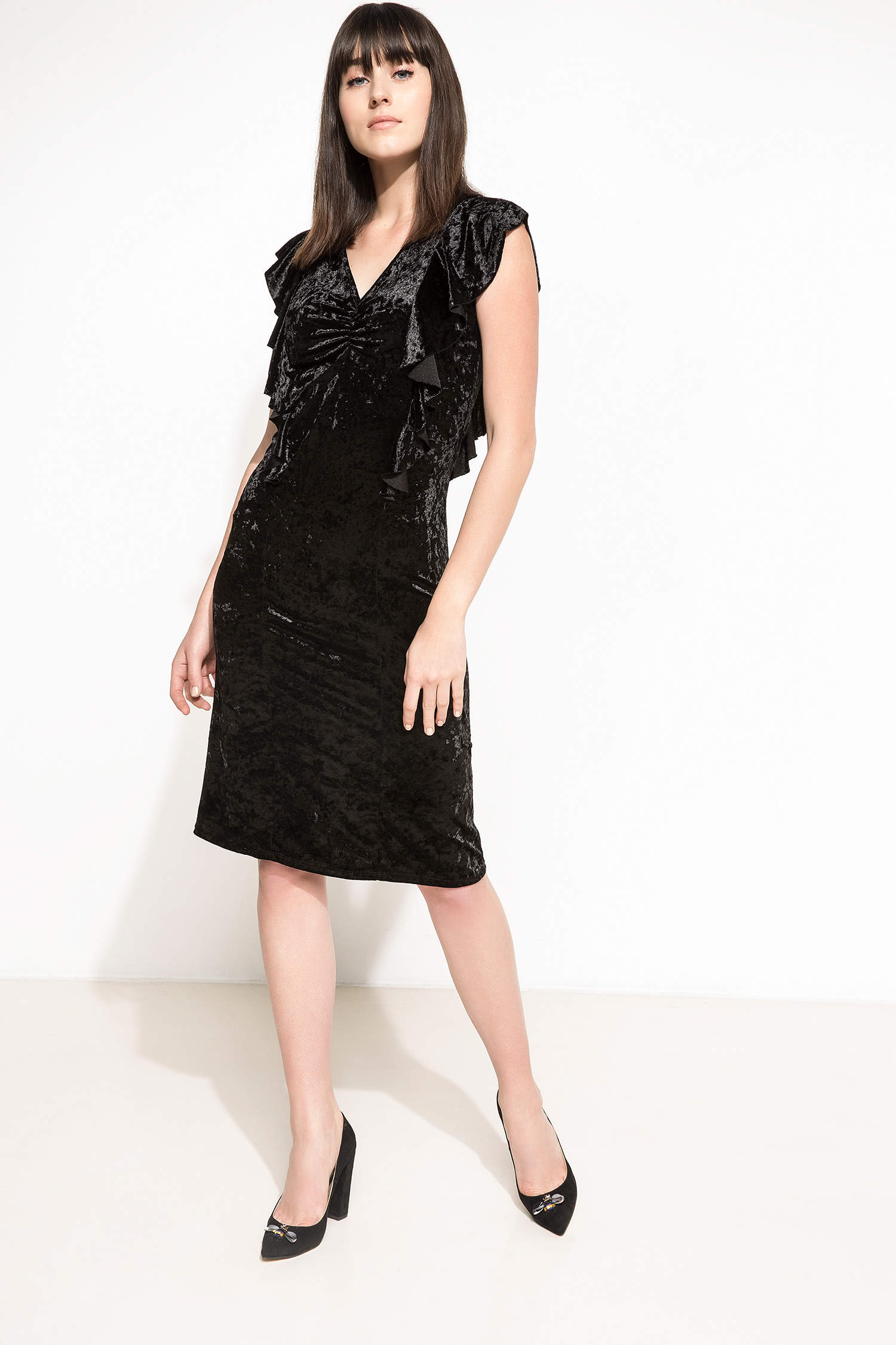 a9ea97c6a4c79 Siyah Kadın Fırfır Detaylı Elbise 797390 | DeFacto