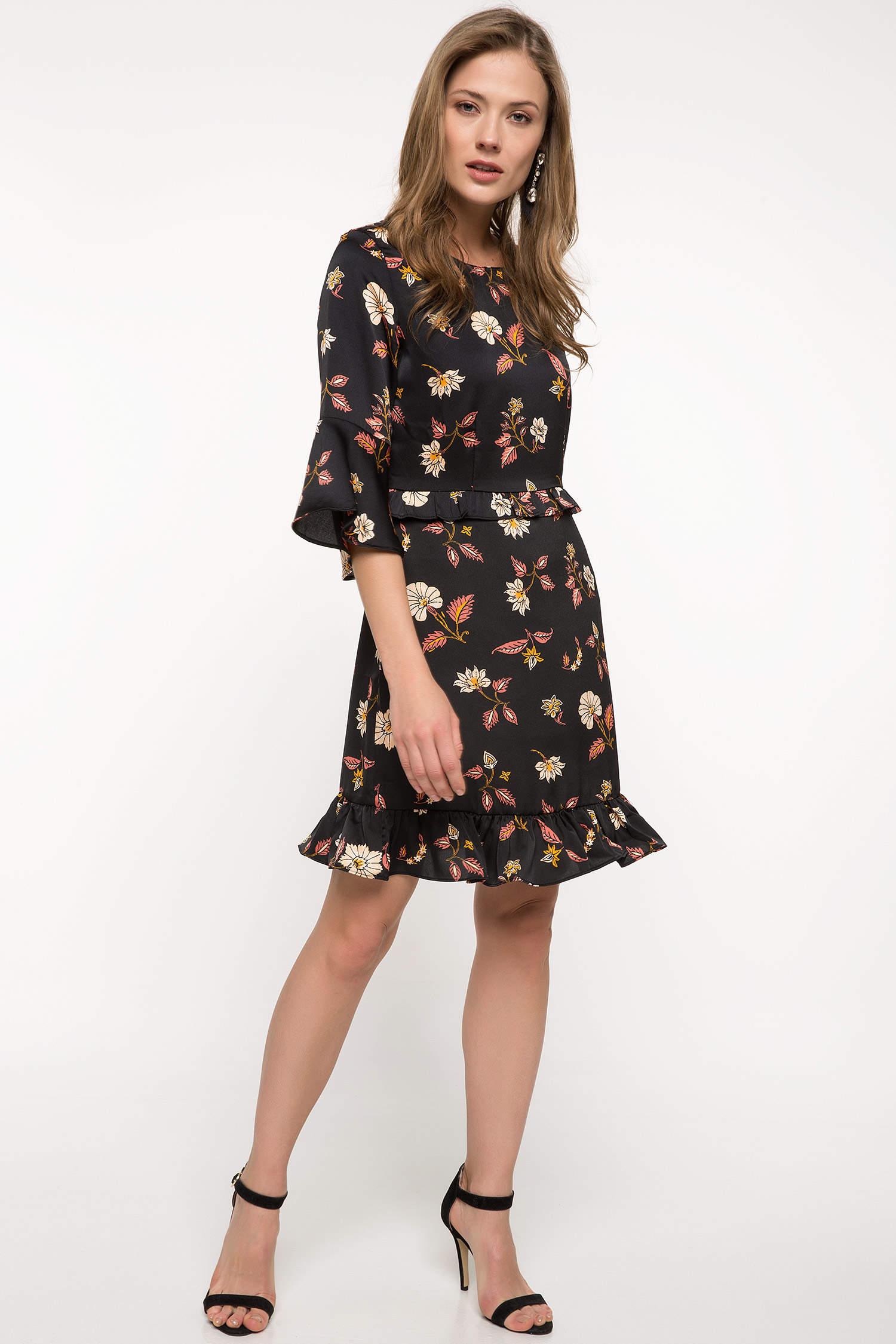 9d8584a13231e Siyah Kadın Çiçek Desenli Fırfır Detaylı Elbise 831507 | DeFacto