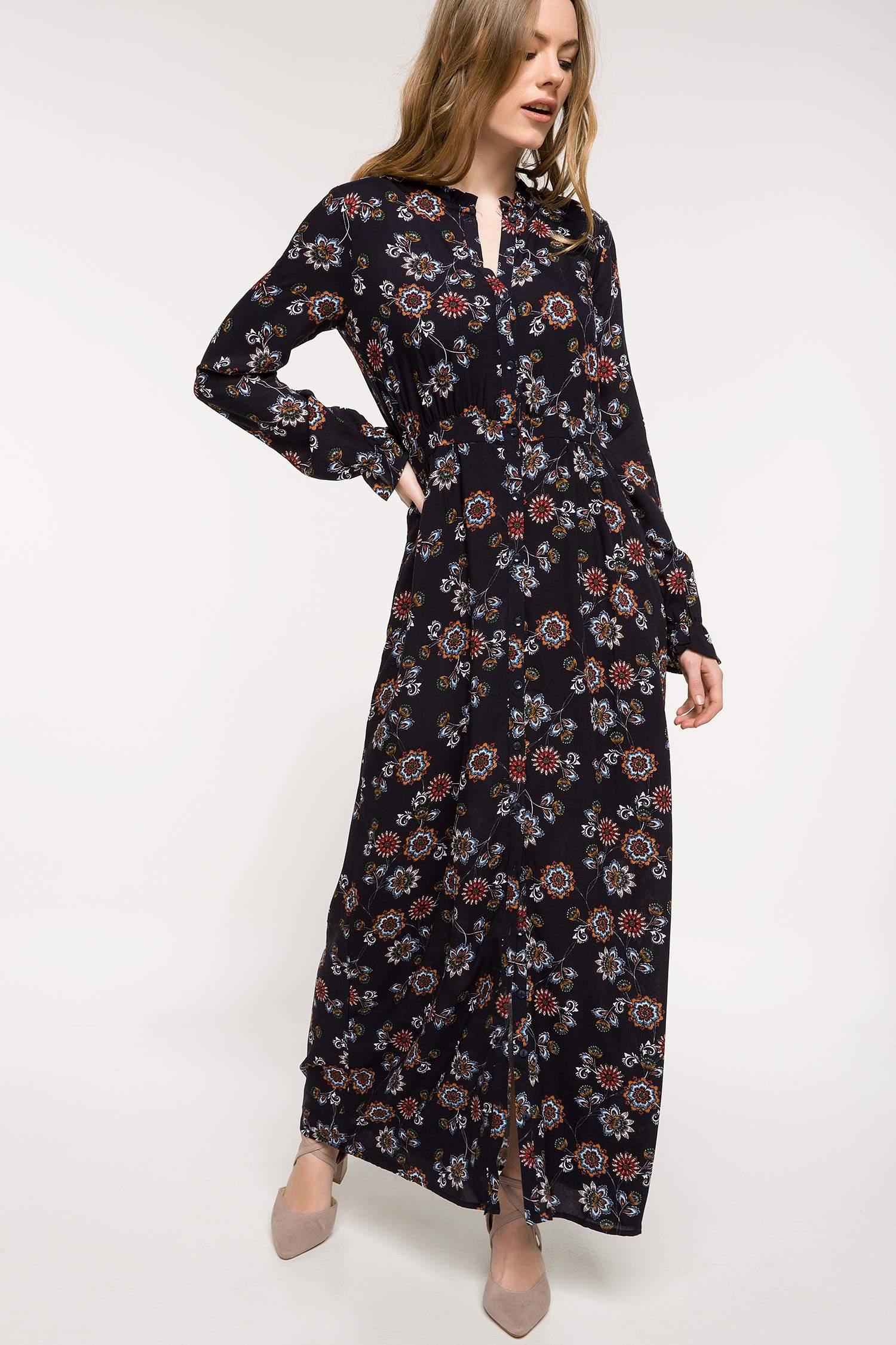 2af6a01c19b87 Lacivert Kadın Çiçek Desenli Uzun Elbise 826557   DeFacto