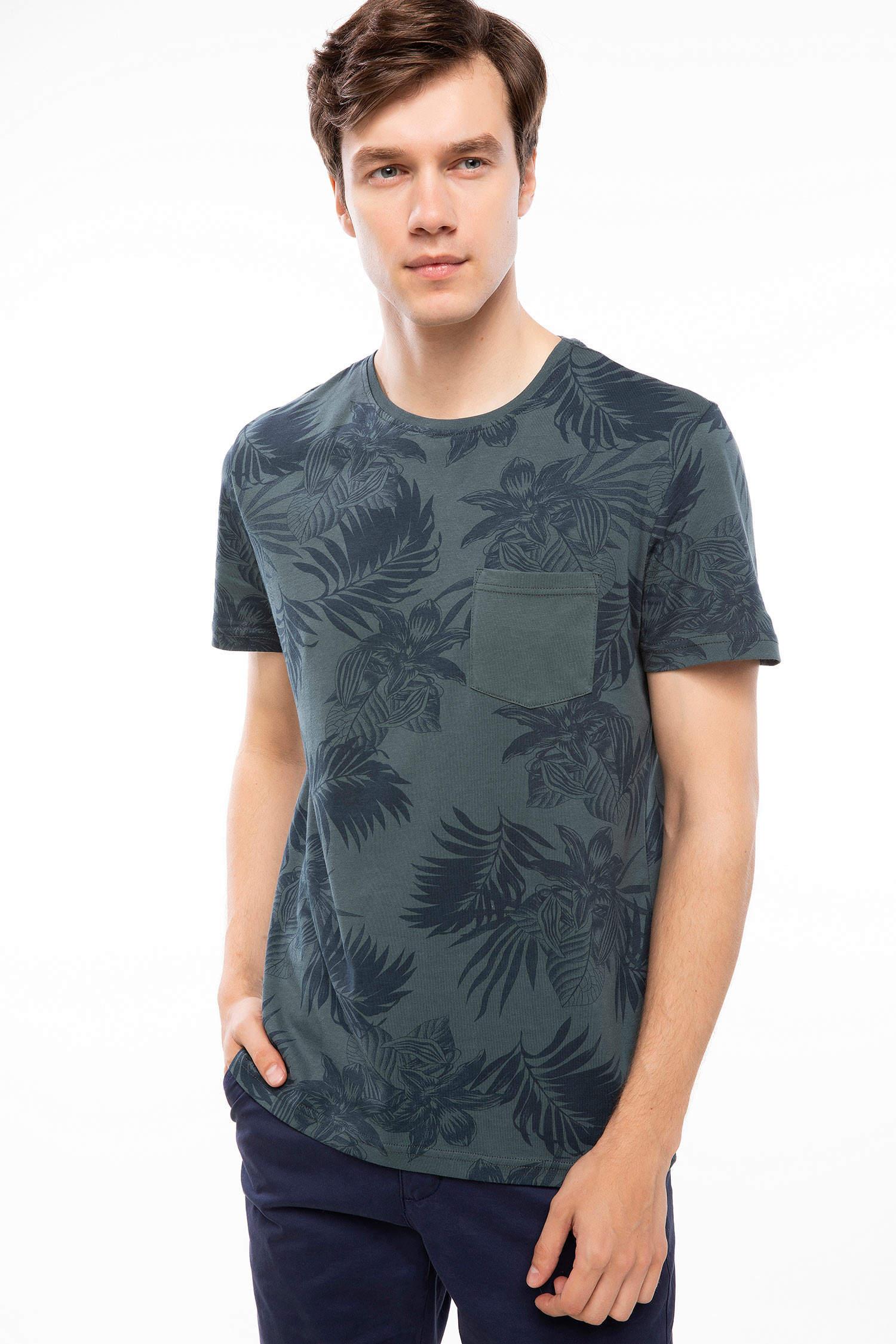 a3a291dbe9fdb PETROL Erkek Yaprak Desenli T-shirt 888237 | DeFacto