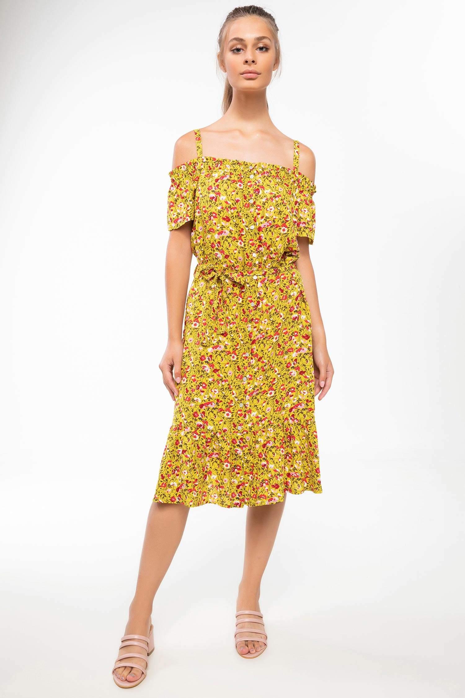 3aad69c1f3c91 Sarı Kadın Kat Volanlı Çiçek Desenli Askılı Elbise 852546 | DeFacto