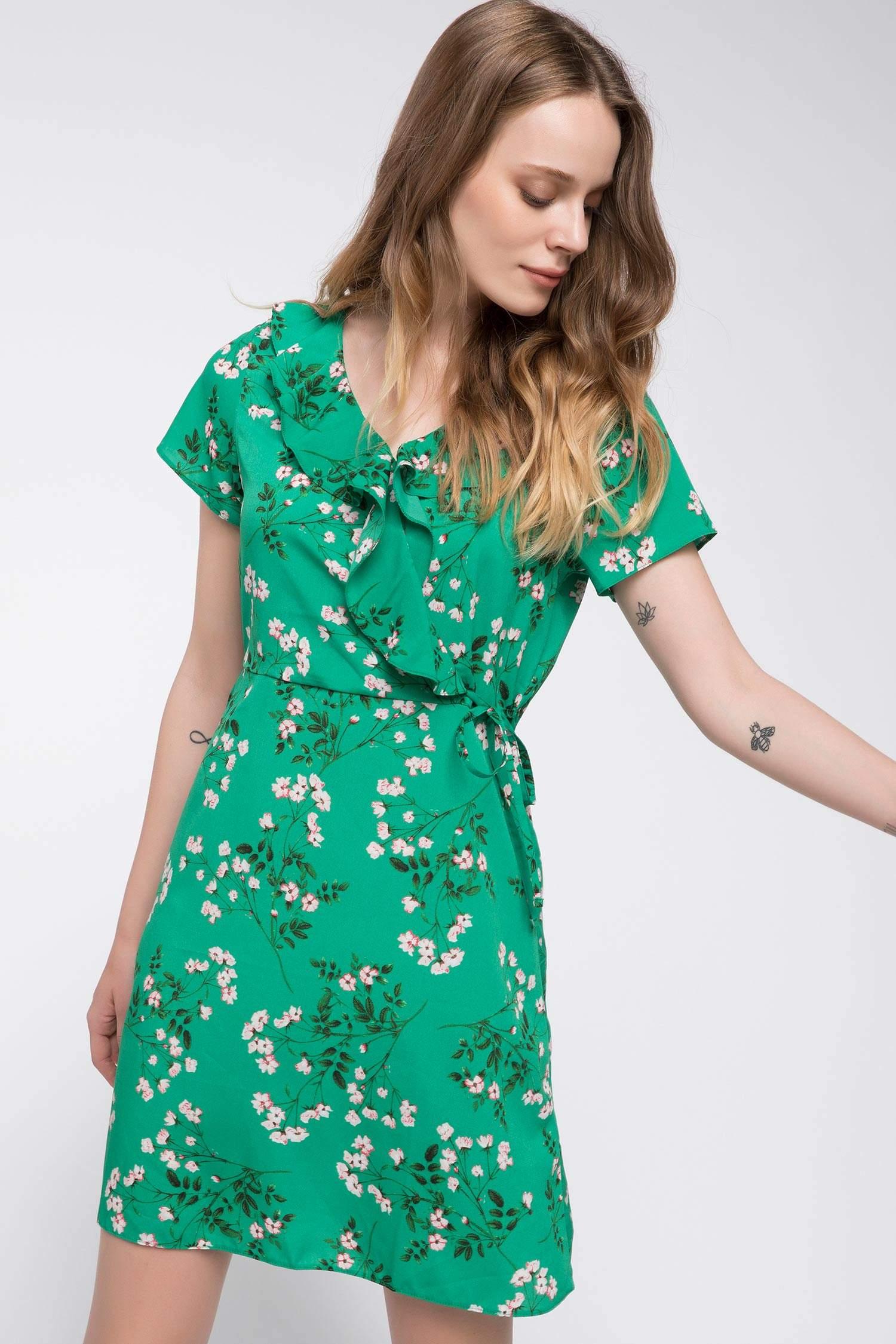 abcc83ac39942 Yeşil Kadın Çiçek Desenli Elbise 857449   DeFacto