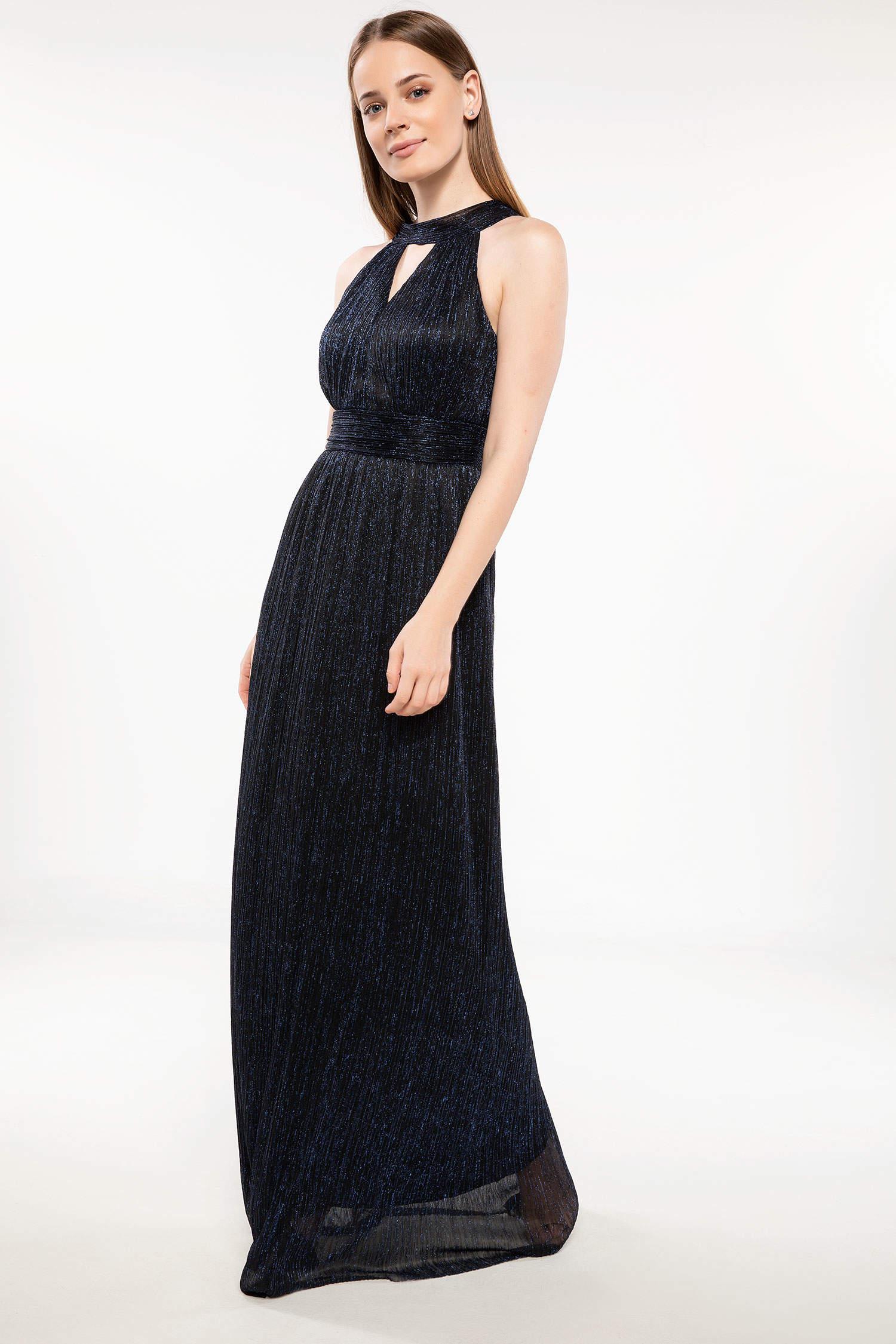 b563e4cf06ff0 Lacivert Kadın Halter Yaka Kuşak Detaylı Abiye Elbise 871498 | DeFacto
