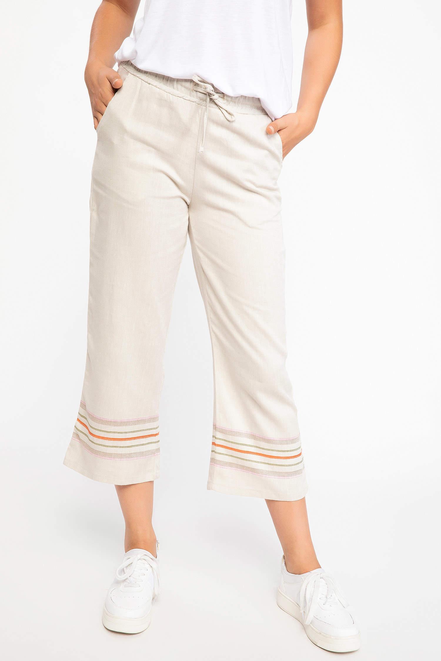 e529e8b030a29 Taş rengi Kadın Şerit Detaylı Keten Pantolon 901149   DeFacto