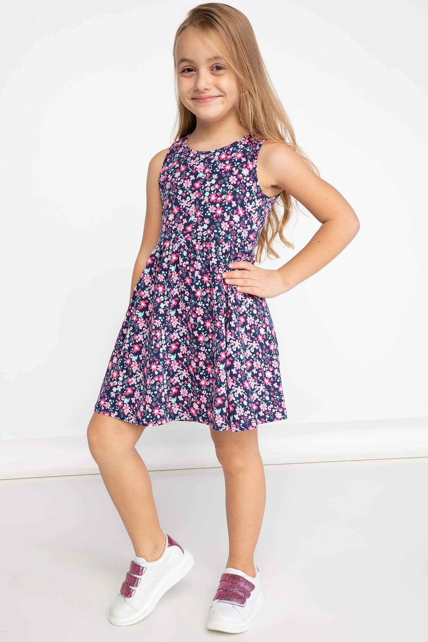 5b11353191585 Lacivert Kız Çocuk - Genç Kız Çiçekli Elbise 944184 | DeFacto