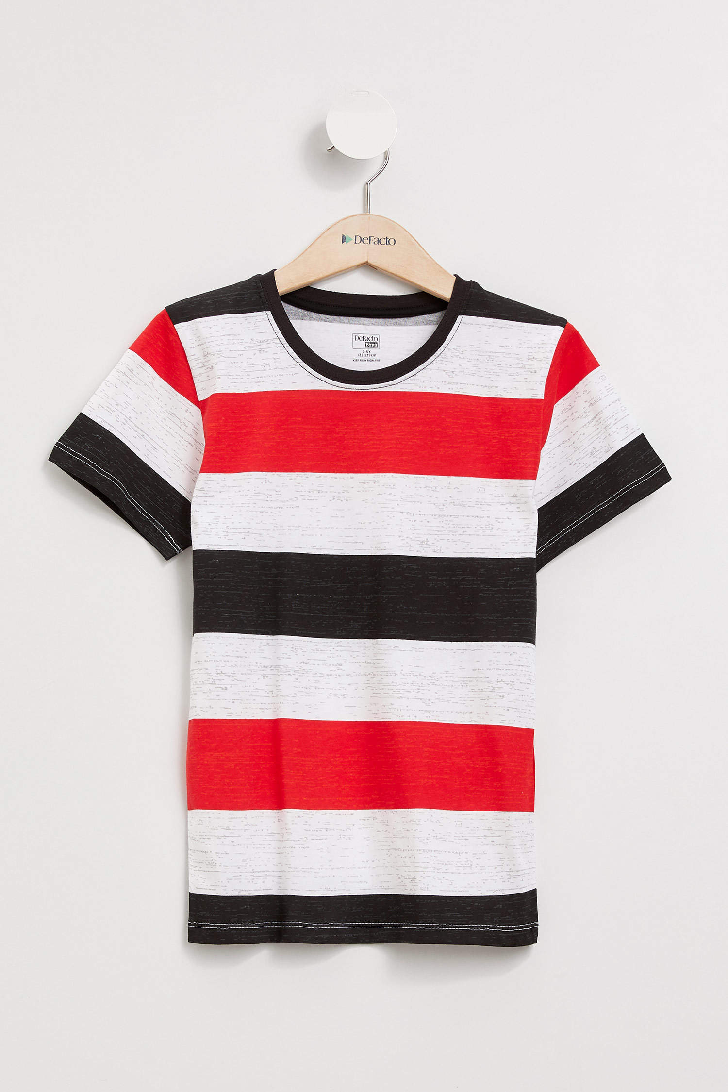 Kirmizi Erkek Cocuk Genc Erkek Erkek Cocuk Yatay Cizgili T Shirt