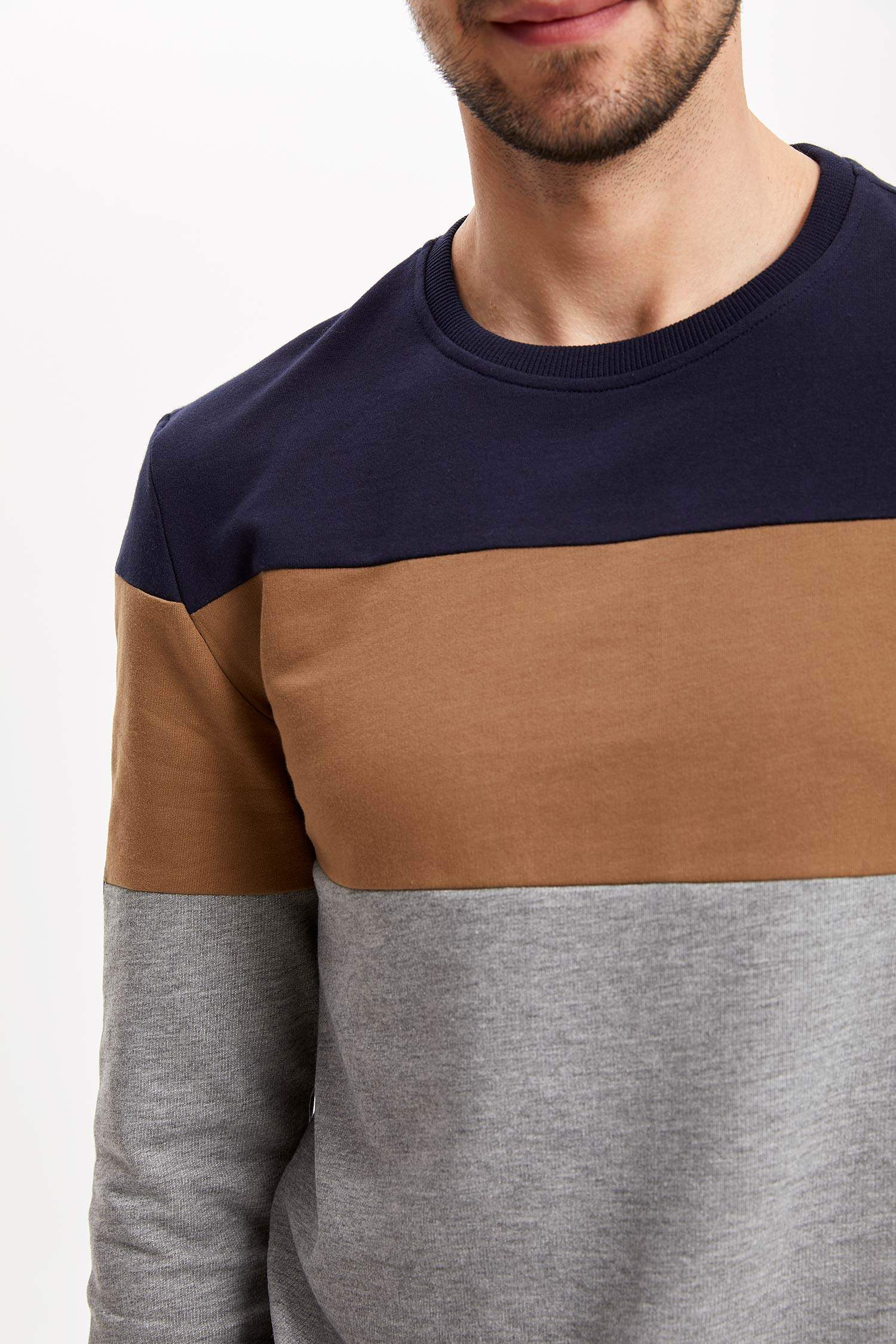 60f0083396ebb Lacivert Erkek Renkli Sweatshirt 962605 | DeFacto