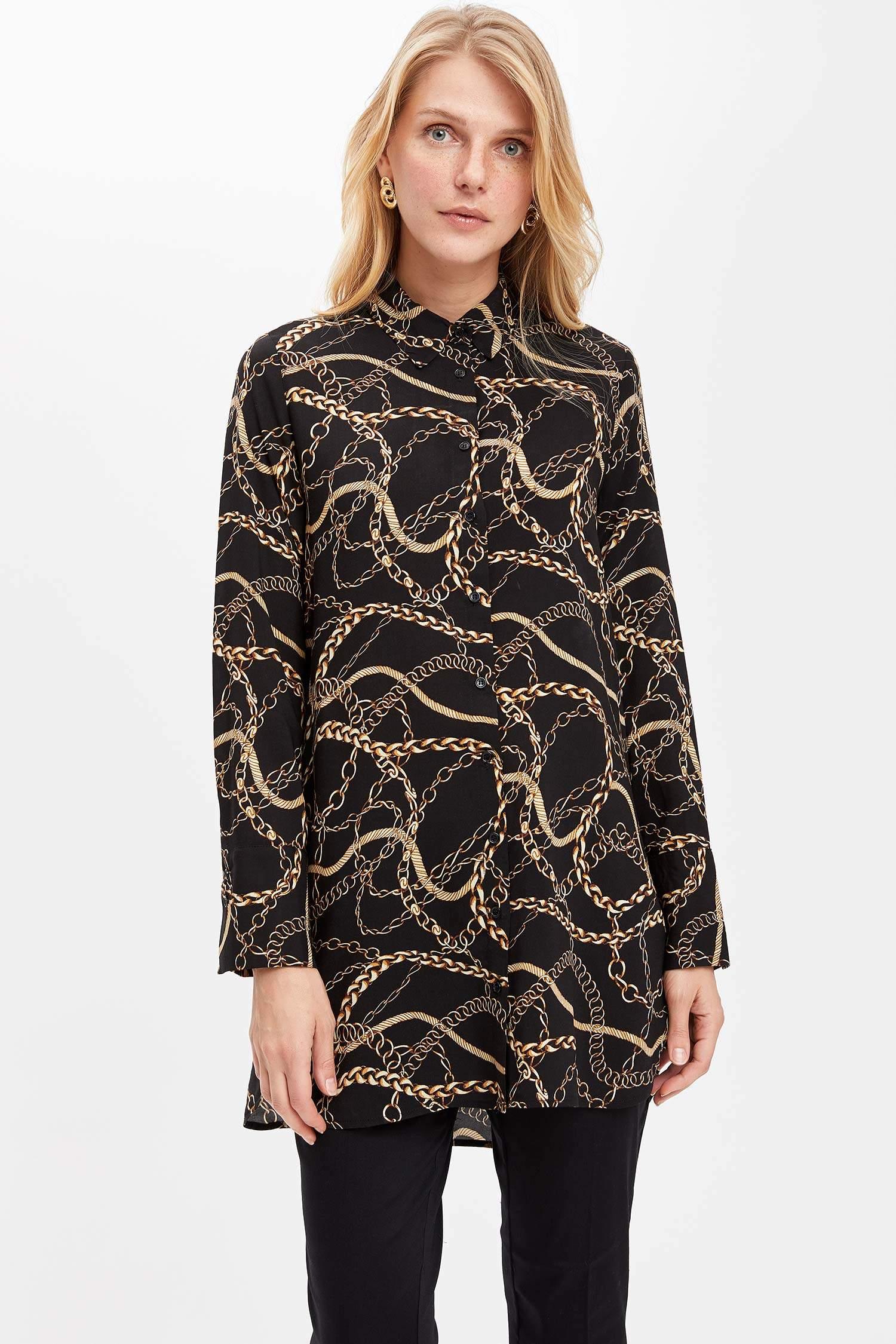 1bb3ec7526b80 Siyah Kadın Zincir Desenli Uzun Kollu Gömlek Tunik 966700 | DeFacto
