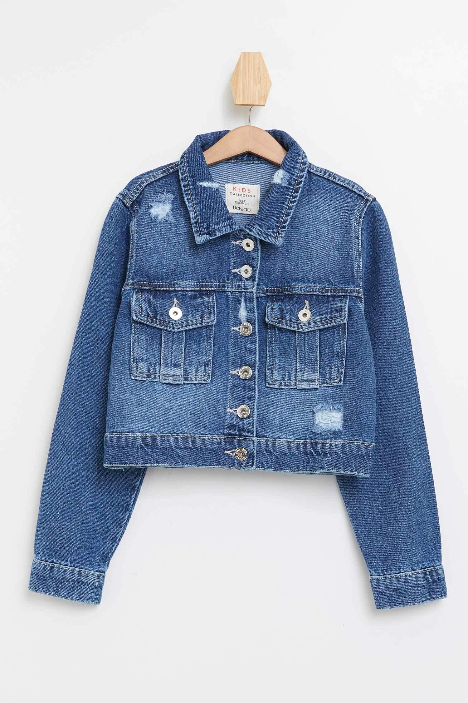 Filles F /& F Bleu Foncé Veste en jean avec les boutons en métal 8-9 Ans Et 11-12